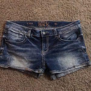 Buckle Black jean shorts